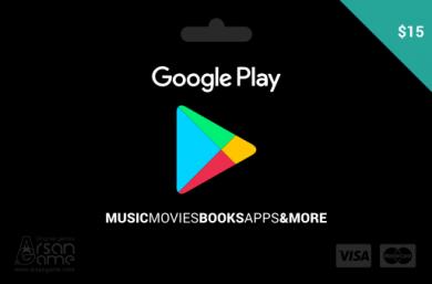 گیفت کارت گوگل پلی 15 دلاری آمریکا